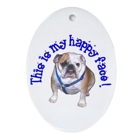 English Bulldog Happy Face Oval Ornament
