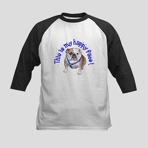 English Bulldog Happy Face Kids Baseball Jersey