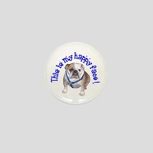 English Bulldog Happy Face Mini Button