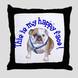 English Bulldog Happy Face Throw Pillow