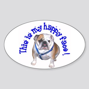 English Bulldog Happy Face Oval Sticker