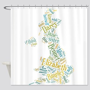 Pride and Prejudice Map Shower Curtain