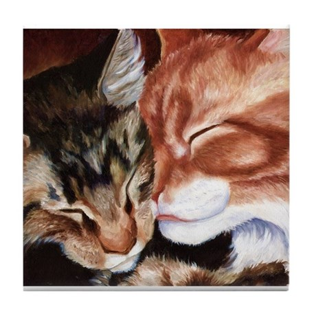 Kitty Kisses Tile Coaster