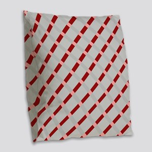 Red Peppermint Candy Burlap Throw Pillow