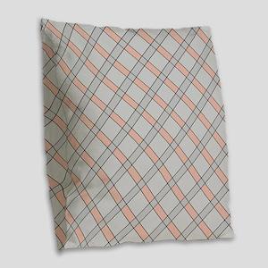 Peppermint Pink Peach Burlap Throw Pillow