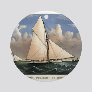 Yacht Puritan of Boston - 1885 Round Ornament