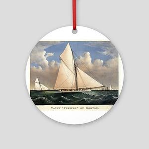 Yacht Puritan of Boston - 1885 Round Ornament