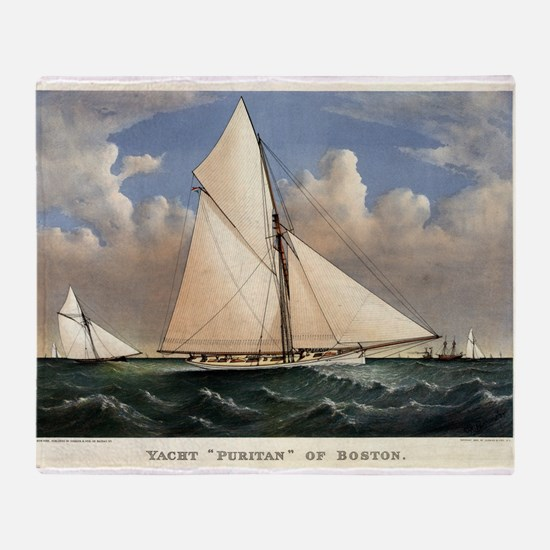 Yacht Puritan of Boston - 1885 Throw Blanket