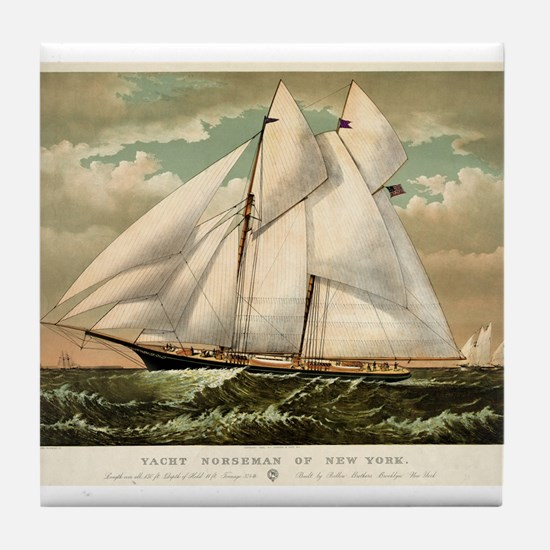 Yacht Norseman of New York - 1882 Tile Coaster