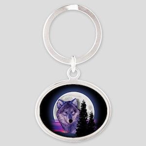 Moon Wolf Oval Keychain