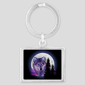 Moon Wolf Landscape Keychain
