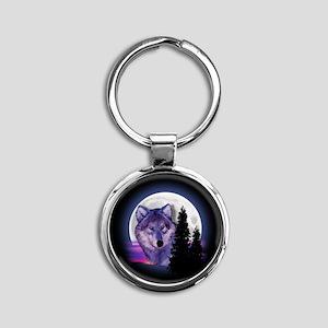 Moon Wolf Round Keychain