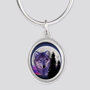 Moon Wolf Silver Oval Necklace
