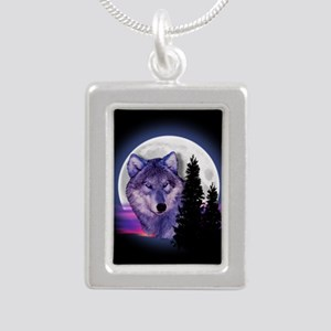 Moon Wolf Silver Portrait Necklace