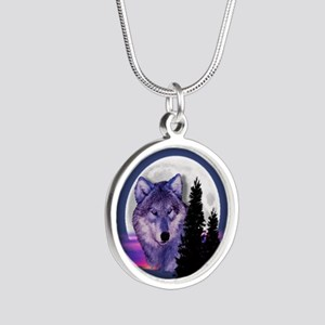 Moon Wolf Silver Round Necklace