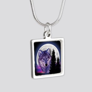 Moon Wolf Silver Square Necklace