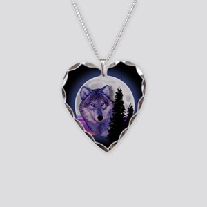 Moon Wolf Necklace Heart Charm