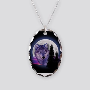 Moon Wolf Necklace Oval Charm