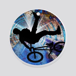 BMX in Grunge Tunnel Round Ornament