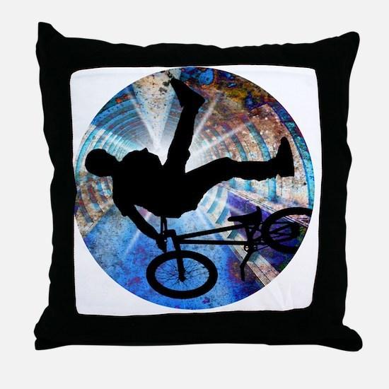 BMX in Grunge Tunnel Throw Pillow