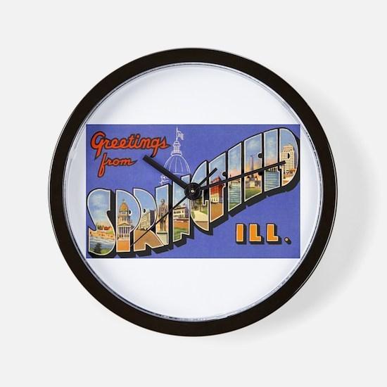 Springfield Illinois Greetings Wall Clock