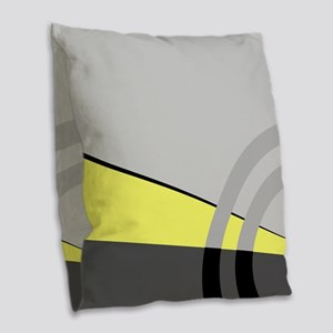 Gray and Yellow Majestic Burlap Throw Pillow