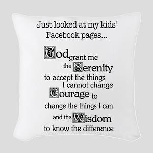 Facebook Serenity Prayer Woven Throw Pillow