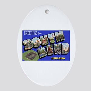 South Bend Indiana Greetings Oval Ornament