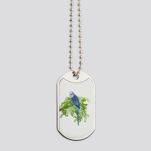 Blue Budgie on Green Dog Tags