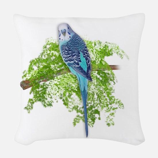 Blue Budgie on Green Woven Throw Pillow