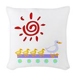 Duck Family Walk Woven Throw Pillow