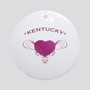 Kentucky State (Heart) Gifts Ornament (Round)