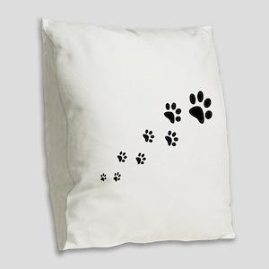 Paw Prints Burlap Throw Pillow