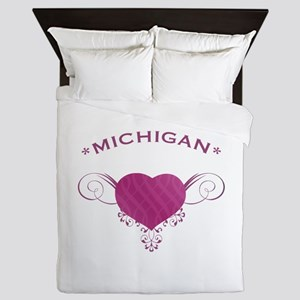 Michigan State (Heart) Gifts Queen Duvet