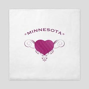 Minnesota State (Heart) Gifts Queen Duvet