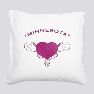 Minnesota State (Heart) Gifts Square Canvas Pillow