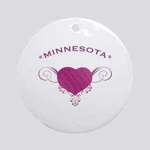 Minnesota State (Heart) Gifts Ornament (Round)