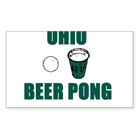 Ohio Beer Pong Rectangle Sticker