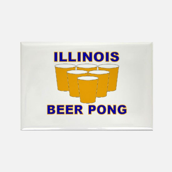Illinois Beer Pong Rectangle Magnet