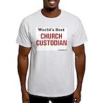 World's Best Church Custodian Ash Grey T-Shirt