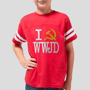 I Communize WWJD (Dark) Youth Football Shirt