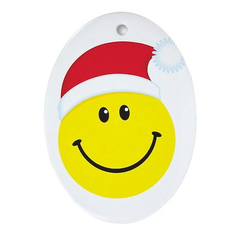 Santa Smiley Face: Oval Ornament