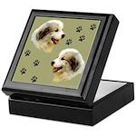 Puppy Paws<br>Keepsake Box, green tile