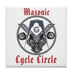 Masonic Bikers Cycle Circle Tile Coaster