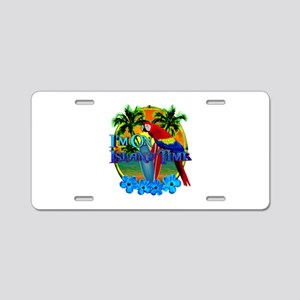 Island Time Surfing Aluminum License Plate