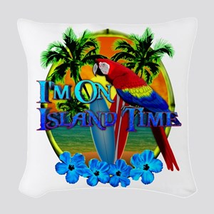 Island Time Surfing Woven Throw Pillow