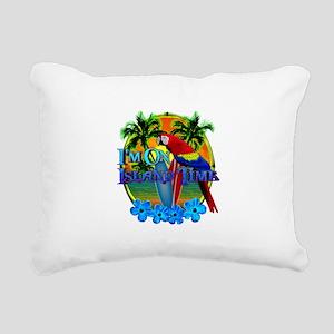 Island Time Surfing Rectangular Canvas Pillow