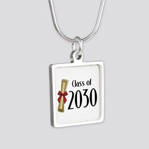 Class of 2030 Diploma Silver Square Necklace