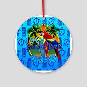Island Time Surfing Tiki Ornament (Round)