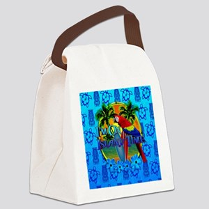 Island Time Surfing Tiki Canvas Lunch Bag